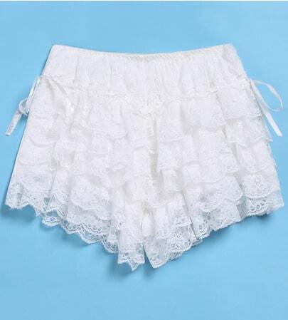 White Multilayer Lace Shorts