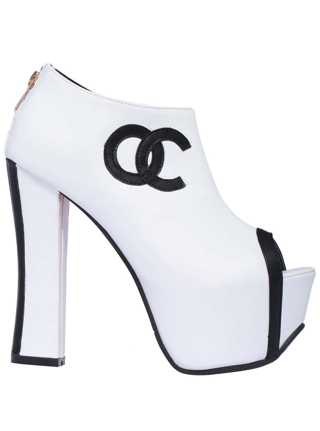 high heels offen mit oc print wei german shein sheinside. Black Bedroom Furniture Sets. Home Design Ideas