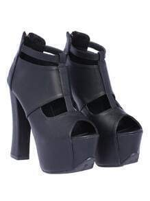 Black High Heel Hollow Peep Toe Shoes