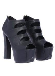 Black Hollow High Heel Hidden Platform Shoes