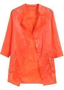 Orange Long Sleeve Pockets Loose Coat