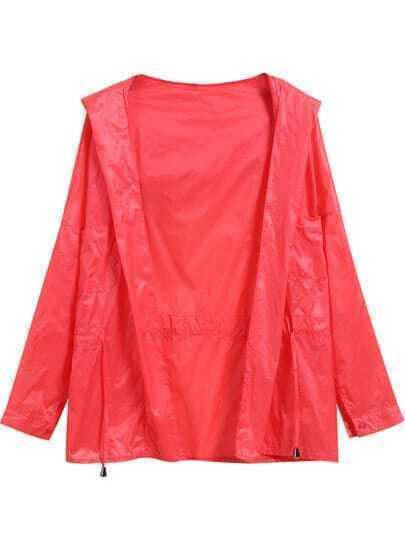 Orange Hooded Drawstring Long Sleeve Coat