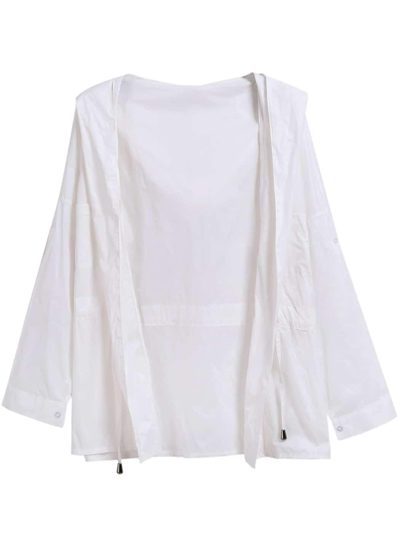 White Hooded Drawstring Long Sleeve Coat