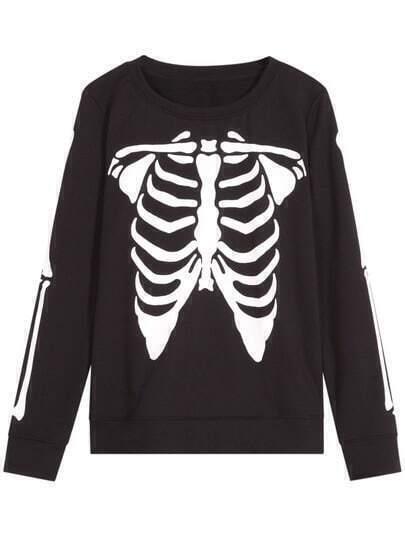 Black Skull skeleton Print Crop Sweatshirt