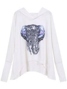 White Hooded Elephant Print Dip Hem Sweatshirt