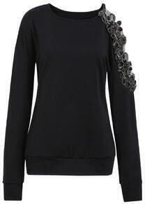 Black Round Neck Hollow Embroidered Loose Sweatshirt