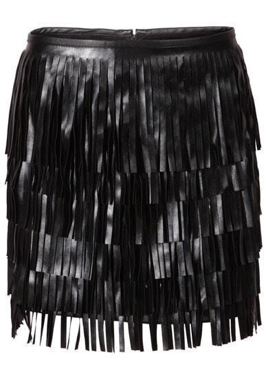 Black Tassel Zipper PU Bodycon Skirt