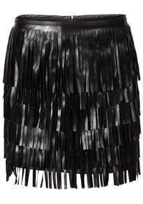 Black Tassel Zipper PU Bodycon Skirt