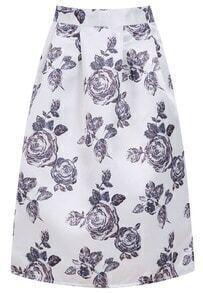 White Vintage Florals Flare Skirt