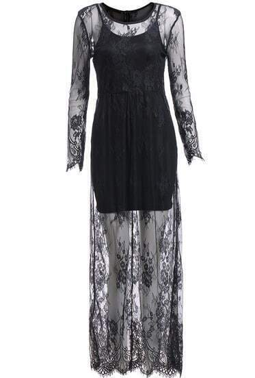 Black Lace Crochet Long Sleeve Maxi Dress