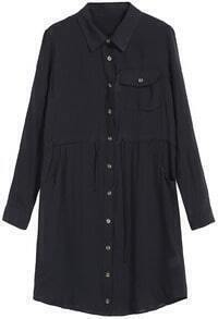 Black Lapel Pockets With Drawstring Dress