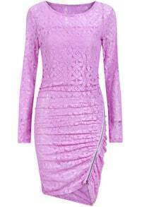 Purple Long Sleeve With Zipper Asymmetrical Dress