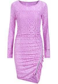 Purple Long Sleeve With Zipper Asymmetrical Dress