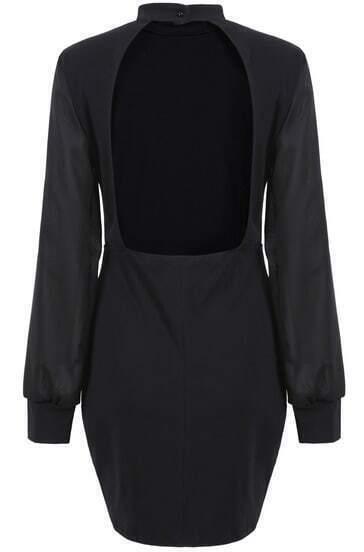 Black Long Sleeve Backless Bodycon Dress