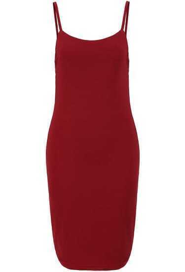 Red Spaghetti Strap Backless Bodycon Dress