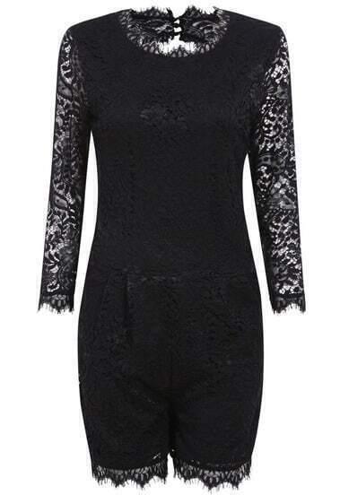 Black Long Sleeve Lace Hollow Slim Jumpsuit