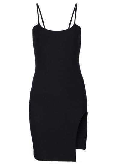 Black Spaghetti Strap Split Bodycon Dress