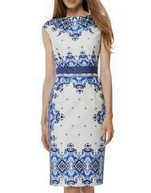 White Cap Sleeve Porcelain Print Sheath Dress