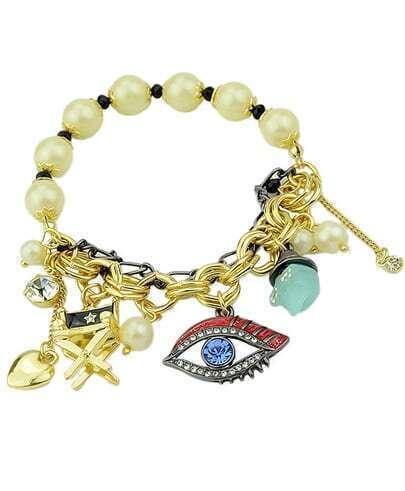 Armband mit Perlen und Auge Anhänger-gold- German SheIn(Sheinside)