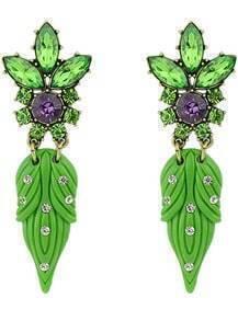 Green Diamond Leaves Earrings