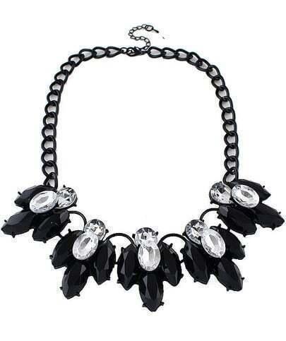 Black Gemstone Tassel Chain Necklace