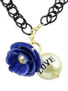 Royal Blue Flower Bead Chain Necklace