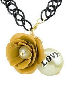 Yellow Flower Bead Chain Necklace