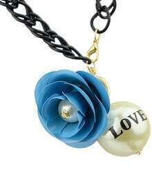 Blue Flower Bead Chain Necklace