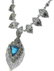 Blue Gemstone Silver Leaf Necklace
