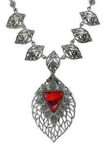 Red Gemstone Silver Leaf Necklace