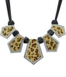 Black Bead Leopard Print Necklace