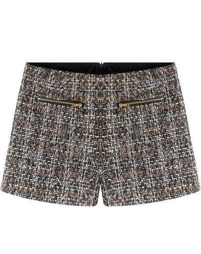 Black Zipper Pockets Tweed Shorts
