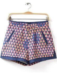 Blue Geometric Print Jacquard Shorts