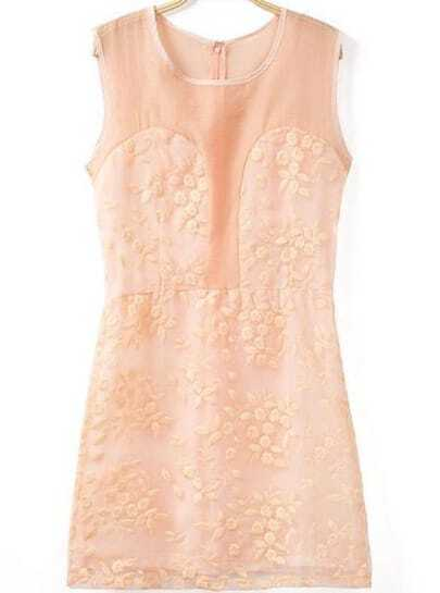 Orange Sleeveless Embroidered Lace Dress