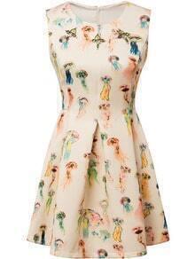 Beige Sleeveless Jellyfish Print Flare Dress