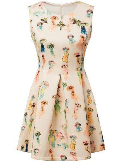 Beige Sleeveless Jellyfish Print Flare Dress