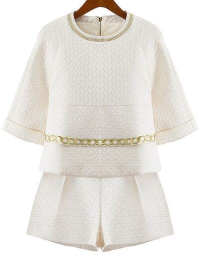 Beige Half Sleeve Chain Embroidered Top With Shorts