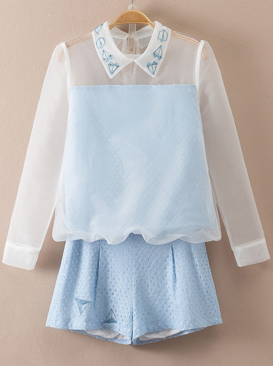 blue long sleeve sheer lace top with shorts