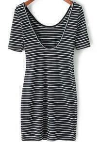 Black Striped Scoop Neck Short Sleeve Slim Dress