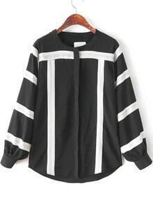 Black Long Sleeve Striped Loose Chiffon Blouse