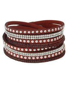 Red Diamond Multilayers Leather Bracelet