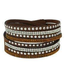 Brown Diamond Multilayers Leather Bracelet