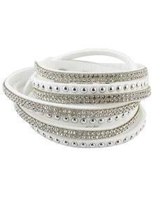 White Diamond Multilayers Leather Bracelet