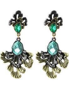 Green Gemstone Retro Gold Earrings