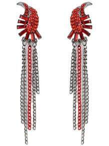Red Diamond Chain Tassel Earrings