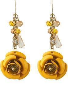 Yellow Rose Dangle Earrings