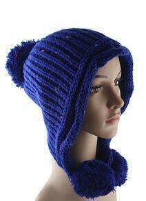 Blue Twisted Ball Knit Hat
