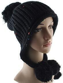 Black Twisted Ball Knit Hat