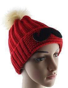 Red Twisted Ball Moustache Knit Hat