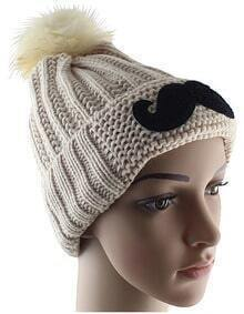 White Twisted Ball Moustache Knit Hat
